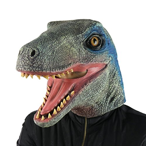 FantasyParty Halloween Mask Costume Party Latex Jurassic Dinosaur Head Mask Velociraptor ()