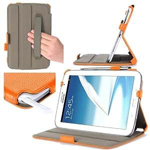 i-Blason Slim Book Shell Case and Cover Auto Wake/Sleep for Samsung Galaxy Note 8.0 GT-N5100/N5110 Wifi 4G LTE (3 Year Warranty)-Orange