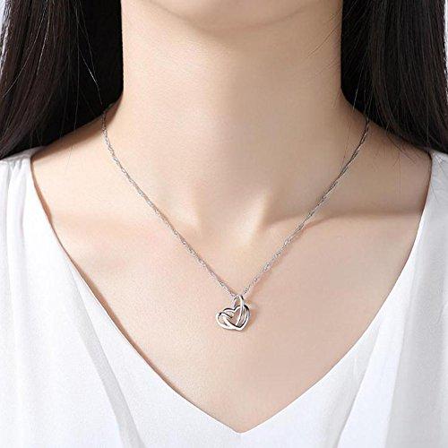 Fablcrew Collar Doble Coraz/ón Colgante Elegante Cadena de Clav/ícula