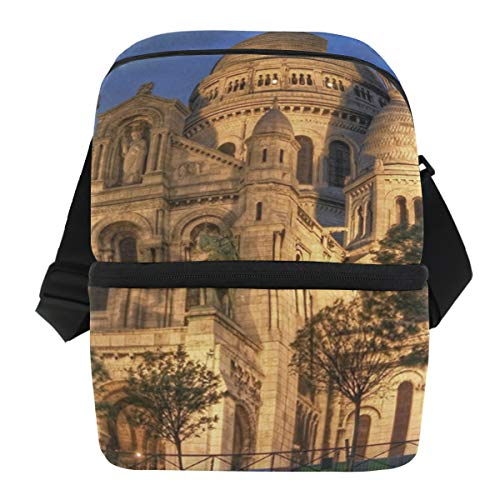 Lovexue Lunch Bag Sacre Coeur Basilica Montmartre Paris France Portable Cooler Bag Adult Leakproof Lunch Organizer Zipper Tote Bags for Travel