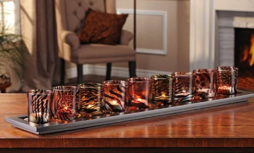 Giftcraft Patterned and Colored Glass Tealite Candleholders. Set of 10 ()