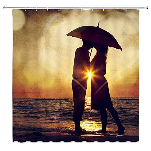 dachengxing Man Woman Love Shower Curtain Romance Nature Scenic Decor A Couple That Kissing Each Other Under Umbrella Seaside Sunset Scene,Waterproof Black Brown Fabric Hooks Included 70x70 Inch