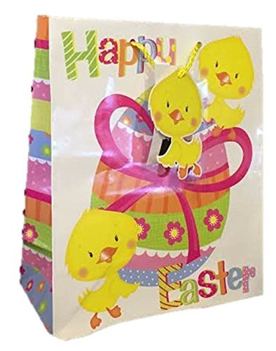 Amazon large easter gift bag tag white with yellow chicks large easter gift bag tag white with yellow chicks big easter egg 33x26x14cm by negle Images