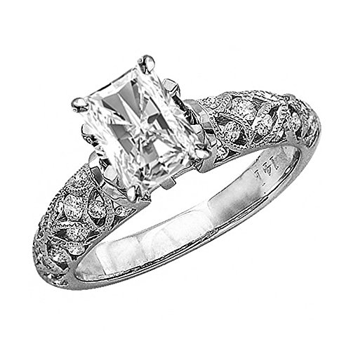 0.98 Cttw 14K White Gold Radiant Cut Vintage Style Channel Set Filigree Diamond Engagement Ring with a 0.5 Carat H-I Color SI2-I1 Clarity Center Image