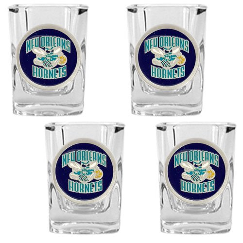 NBA New Orleans Hornets Four Piece Square Shot Glass Set