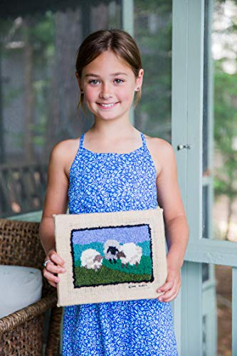 Harrisville Designs Friendly Loom Sheep Rug Hooking Kit with Wool Yarn, Weaving Crafts for Kids Age 8 and up