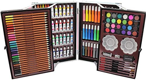 TFACR Set de Arte 144 Piezas, con Caja de Aluminio, y Dibujar Color Pen Crayones Estuche de Pintura, niños, Principiantes y Estudiantes (Azul): Amazon.es: Hogar