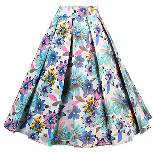 Dressever Women's Vintage A-line Printed Pleated Flared Midi Skirt Colorful Daisy XX-Large