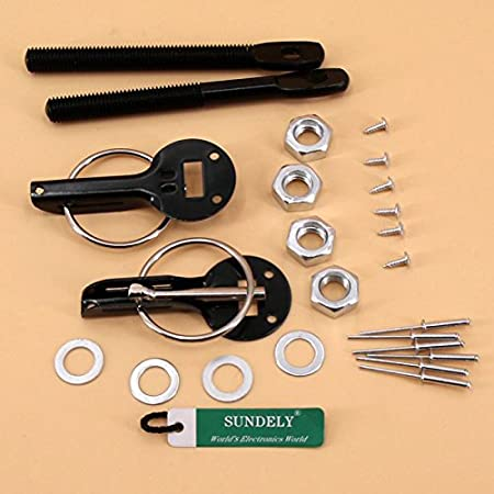 Gold SUNDELY/® Universal Car Vehicle Hood Mount Bonnet Latch Catch Pin Key Locking Kit Set