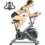 51JREmbI29L. SS150 ANCHEER Bici da Spinning Cyclette con Volantino di Inerzia 18 kg Display LCD, Sensore di Impuls, Collega con l'App Manubrio e Sella Regolabili, Portata Massima 120 kg