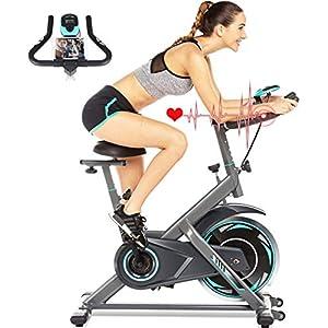 51JREmbI29L. SS300 ANCHEER Bici da Spinning Cyclette con Volantino di Inerzia 18 kg Display LCD, Sensore di Impuls, Collega con l'App Manubrio e Sella Regolabili, Portata Massima 120 kg