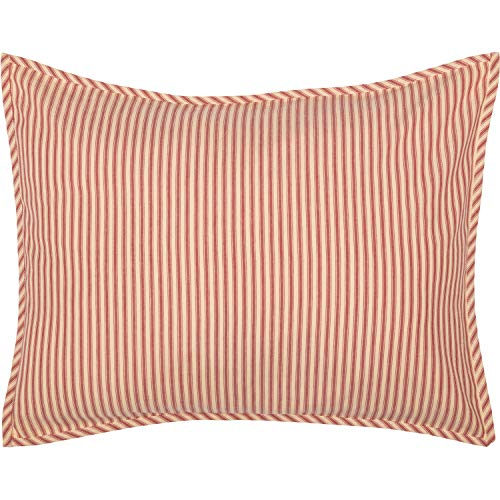 VHC Brands Farmhouse Bedding Miller Farm Charcoal Ticking Cotton Striped Standard Sham Red - Sham Red Standard