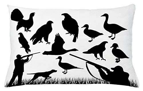 Mallard Duck House (Hunting Throw Pillow Cushion Cover by Ambesonne, Silhouettes of Wild Animals and the Huntsman Grouse Mallard Duck Eagle Grass, Decorative Accent Pillow Case, 26 W X 16 L Inches, Black and White)