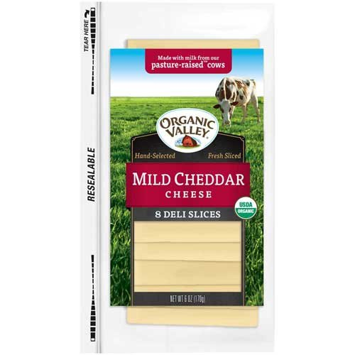 Organic Valley Slice Mild Cheddar Cheese, 6 Ounce -- 12 per case.