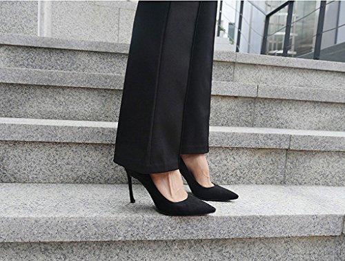 Lizform Dames Puntschoen Slip Pump Hakken Avond Feestjurk Schoenen Zwart