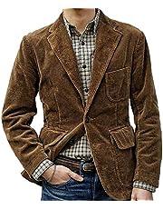 Heren corduroy casual blazer met drie knopen, effen kleur, los colbert