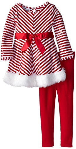 Toddler Little Girls Holiday Pant Set - Red White Chevron Sequined Tunic Set 3T