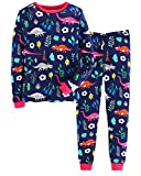 Hongshilian Boys Girls Pajamas Cotton Kids Pjs Cute Cartoon Striped Sleepwear(9-10Yrs,Dinosaur & Dark Blue)