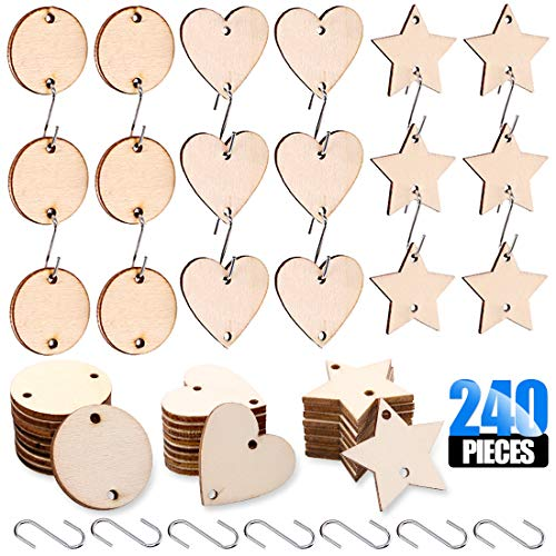 Glarks 240-Pieces 1.5 inch Wooden Star/Circles / Heart Tags with Holes and Stainless Steel S Shaped Hook Connectors for Birthday Boards, Valentine, Decorations and DIY Crafts