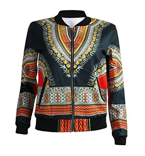 E Casual Lunga Vintage Zip Tops Outerwear Manica Bomber Primavera Africano Cappotti Jacket Giacche Nero Donna Arancio Giacca Stampa Moda Con Trenchcoat Autunno Coat Cime fqndwR