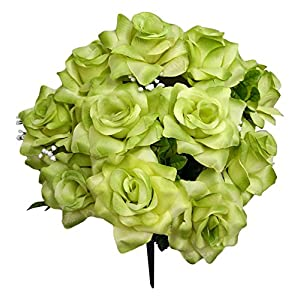 Admired By Nature 12 Stems Artificial Blooming Veined Satin Rose Flowers Bush for Home 1