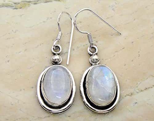 15.00 Ctw Genuine Rainbow Moonstone .925 Silver Overlay Handmade Dangle Earrings Jewelry