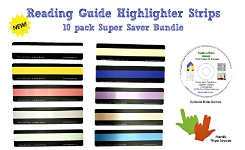Reading Guide Highlighter Strips (10 PACK) + Dyslexia Brain Games CD + Finger Spacers BUNDLE| Colored and Guided Reading Strips with Overlays | 10 COLORS