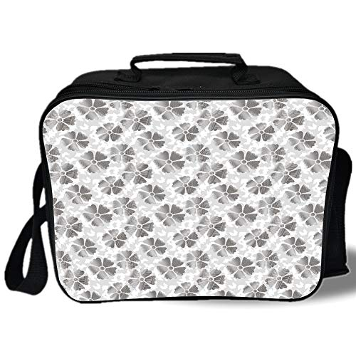 Insulated Lunch Bag,Floral,Digital Style Flower Petals with