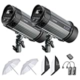 Neewer 500W Studio Strobe Flash Photography Lighting Kit: (2)Monolight,(2)Softbox,(1)RT-16 Wireless Trigger and Receiver, (2)33 inches Translucent Umbrella for Video Portrait Location Shooting(N-250W)