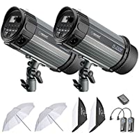 Neewer 500W Studio Strobe Flash Photography Lighting Kit:(2) 250W Monolight,(2) Softbox,(1) RT-16 Wireless Trigger,(2) 33 inches Translucent Umbrella for Video Portrait Location Shooting(N-250W)