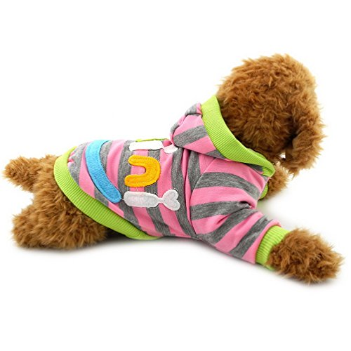 [PEGASUS Pet Clothes Mini Smile Patch Striped Sweatshirt Shirt Fleece Pullover Winter for Small Dog Cat Puppy Pink] (Mini Dachshund Halloween Costumes)