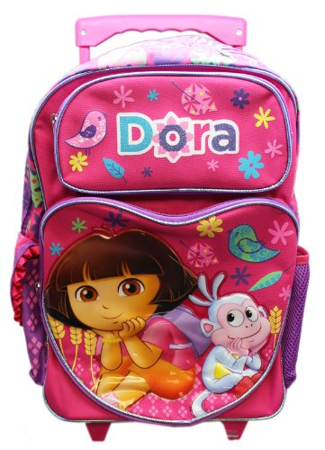 Full Size Pink Dora the Explorer and Boots Pose Rolling Backpack Luggage ()