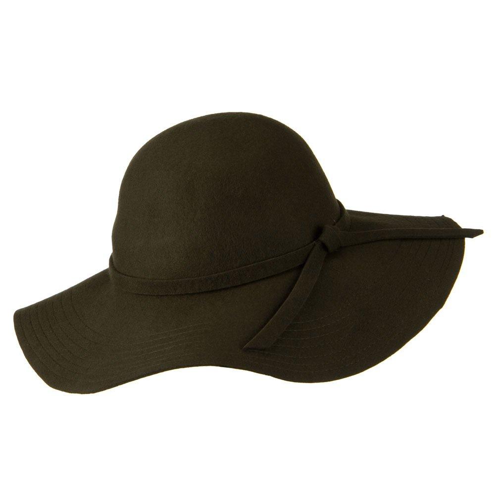 Wide Flat Brim Wool Felt Hat - Olive OSFM at Amazon Women s Clothing store   Sun Hats bddf329b86a