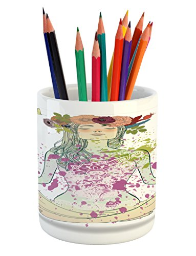 Ambesonne Yoga Pencil Pen Holder, Girl with Floral Wreath Sitting in Lotus Pose Color Splashes Levitation Meditation, Printed Ceramic Pencil Pen Holder for Desk Office Accessory, Multicolor by Ambesonne