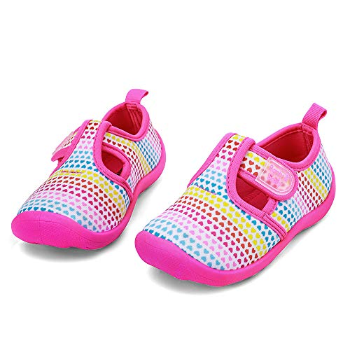 nerteo Toddler Sneakers Baby Girls Beach Sandals for Summer,Pool,Beach Colorfull/Love/Pink US 1 Little Kid
