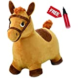 Yellow Hopping Horse, Outdoors Ride On Bouncy Animal Play Toys, Inflatable Hopper Plush Covered with Pump, Activities Gift For 2, 3, 4, 5 Year Old Kids Toddlers Boys Girls - iPlay, iLearn