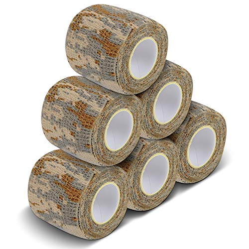 Desert Camo Grips - AIRSSON 5 Roll Camouflage Tape Military Camo Stretch Bandage for Gun Rifle Camping Hunting 2