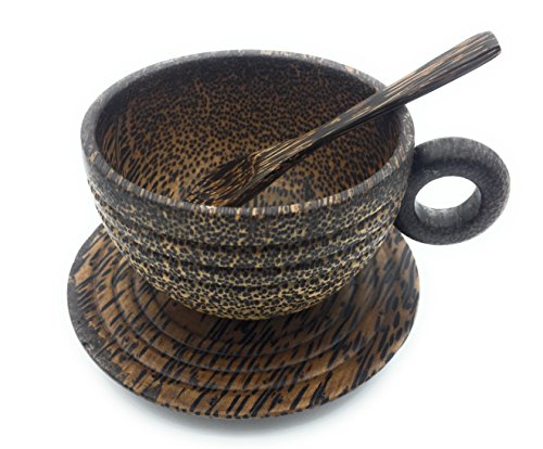 - Starworld - 200ml Thailand Handmade Natural Espresso Palm Wood Coffee Cup with handle include Palm coaster and coffee spoon -For drinking Tea, Coffee, Wine, Beer, Hot Drinks - Dark Ribbed