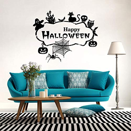 MIARHB Wall Stickers, Pumpkins Cat Spider Witch Wall Decals Window Stickers Halloween Decorations Kids Rooms Nursery Halloween Party (Black) -