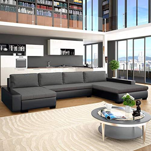 Festnight- canapé-lit canapés de Salon Confortable canapé Moderne Canapé  d\'angle Cuir + Bois 385 x 209 x 68 cm Noir et Gris foncé