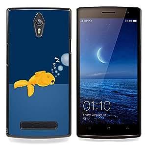 Eason Shop / Premium SLIM PC / Aliminium Casa Carcasa Funda Case Bandera Cover - Goldfish divertido Dormir - For OPPO Find 7 X9077 X9007