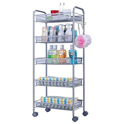 JS HOME 5-Tier Storage Cart Mesh Kitchen Rolling Cart - Silvery Grey by JS HOME