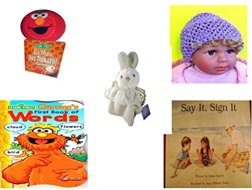 le - Ages 0-2 [5 Piece] Includes: Giggling Elmo Hot Tomato Game, Baby Crochet Beanie Lavender, Hallmark Cheribina Sweet Angel Bunny, Sesame Street Murray's First Book of Words Bo (Hallmark Beanie)