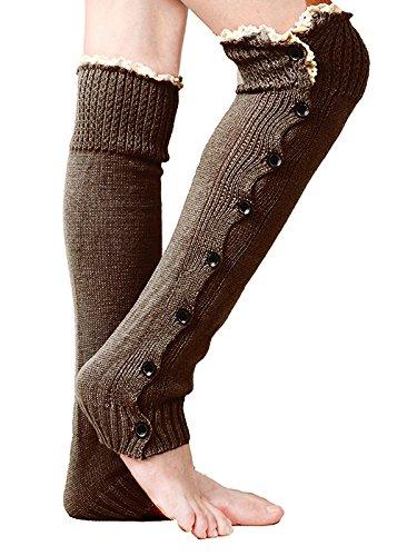 Kuke Mujeres Niñas Crochet Calcetines de Punto Encaje Borde Puños Toppers Calzador de piernas Calentador