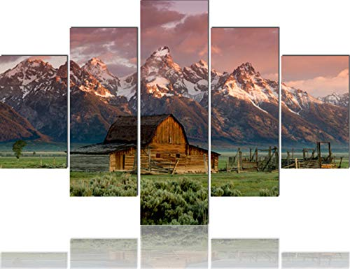 (Grand Tetons Canvas House Decorations Living Room 5 Piece/Set Canvas Wall Art,Wyoming,USA Pictures Painting Modern Home Decor Giclee Framed Stretched Ready to Hang Posters and Prints(60''Wx40''H))