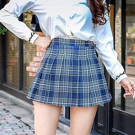 DWWAN Falda Corta Mini Falda Plisada de Moda Falda a Cuadros Floja ...