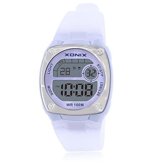 Reloj digital chico chica reloj multifunción luminosa cronómetro de alarma a prueba de agua natación led-E: Amazon.es: Relojes