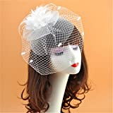 Vintage Cocktail Tea Party Headwear Flower Net Yarn Hats Fascinators Top Hat For Women Brides Hair Accessories (White)