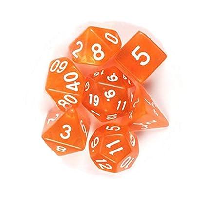 Leoie 7Pcs/Set Translucent Polyhedral Dice Set for Dungeons Dragons Pathfinder D&D RPG (D4 D6 D8 D10 D12 D20 D%) Orange