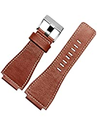 New Genuine Leather Watch Strap 24mm Buckle Fit Bell & Ross MILITARY Army Band, Brown
